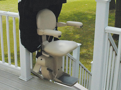 Brunos Extreme Weather Outdoor Straight Stairlift 1 - Central Massachusetts Stairlifts