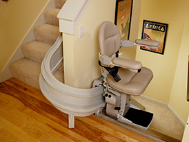 Custom Curved Stairlift Mid Park and Charge Station 2 - Central Massachusetts Stairlifts