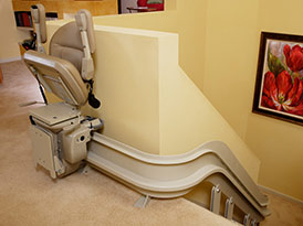 Custom Curved Stairlift Top or Bottom Park Position - Central Massachusetts Stairlifts