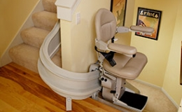 Custom Curved Stairlift Mid Park and Charge Station 1 - Central Massachusetts Stairlifts