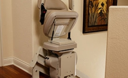 Custom Curved Stairlift Power folding Footrest - Central Massachusetts Stairlifts
