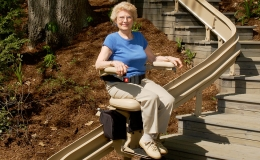 Elite outdoor curved stairlift 2 - Central Massachusetts Stairlifts